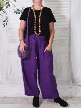 Hammamet, pantalon lin violet face