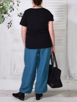 Hammamet, pantalon lin - bleu canard