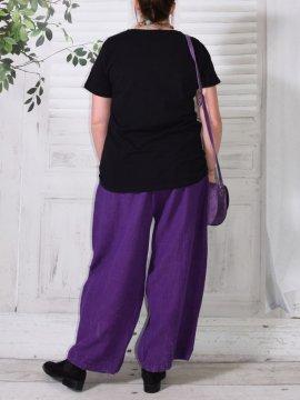 Hammamet, pantalon lin violet dos