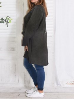 Roxane, redingote sweat, grande taille - anthracite