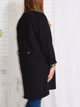 Roxane, redingote sweat, grande taille noir profil