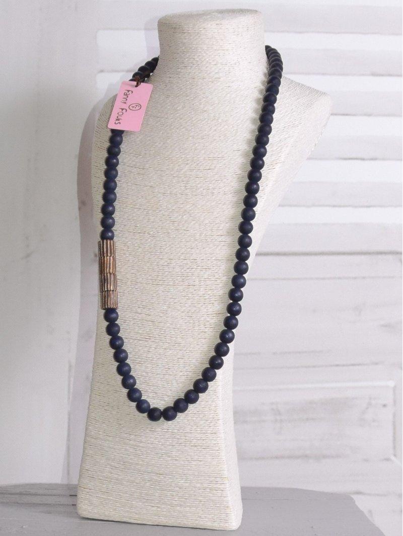 Long sautoir perles bois