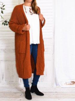 Leane, long gilet manteau en maille - Brique