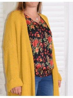 Leane, long gilet manteau en maille - jaune