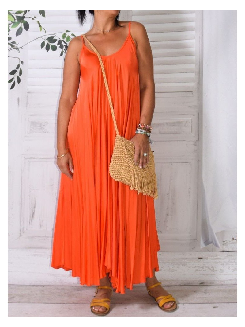 Étincelle, robe en satin orange avant