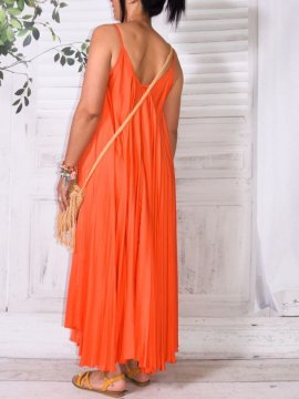 Étincelle, robe en satin orange dos
