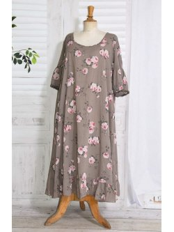 Constance, fond de robe fleuri - taupe