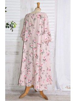 Constance, fond de robe fleuri - rose