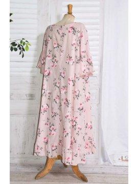 Constance, fond de robe fleuri rose dos