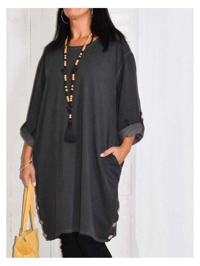 Sonia, robe tunique gris zoom