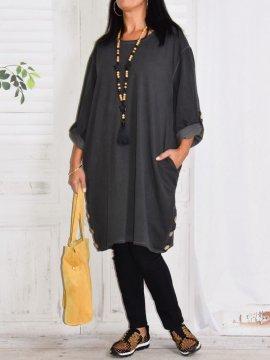 Sonia, robe tunique gris face