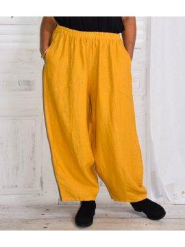 Pantalon en lin Hambourg, marque Lagenlook jaune zoom