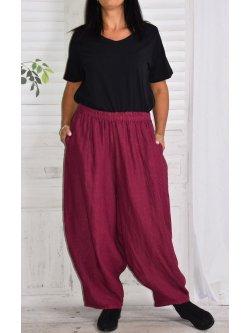 Pantalon en lin Hambourg, marque Lagenlook - prune