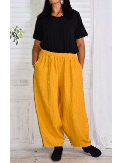 Pantalon en lin Hambourg, marque Lagenlook - jaune