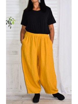 Pantalon en lin Hambourg, marque Lagenlook jaune avant