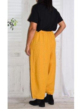 Pantalon en lin Hambourg, marque Lagenlook jaune dos