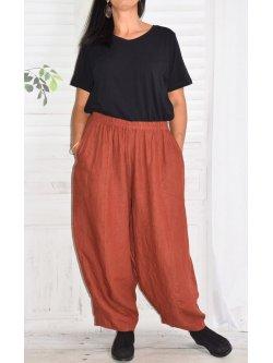 Pantalon en lin Hambourg, marque Lagenlook - noisette