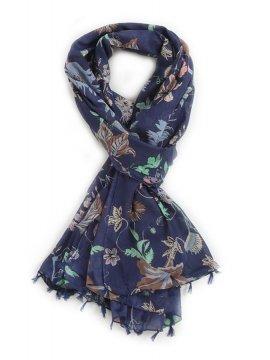 Foulard imprimé fleurs - Bleu