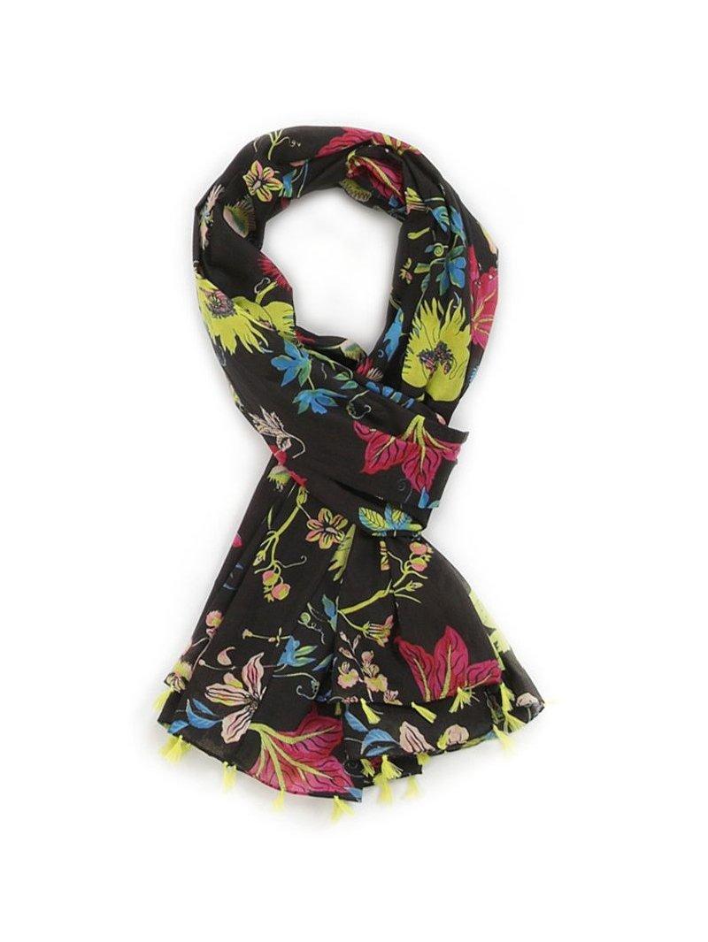Foulard imprimé fleurs noir