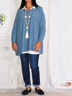 Victoria, pull Lagenlook - Bleu