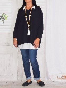 Victoria, pull Lagenlook - noir