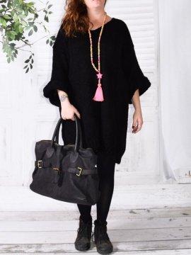 Robe Pull en maille, marque Lagenlook modèle Douceur noir avant