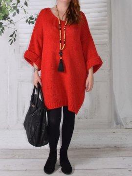 Robe Pull en maille, marque Lagenlook modèle Douceur rouge avant