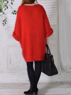 Robe Pull en maille,  marque Lagenlook modèle Douceur - rouge