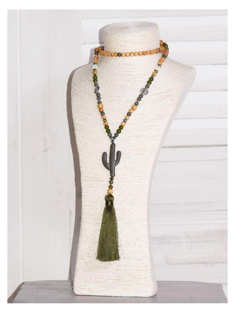 Sautoir bohème cactus kaki