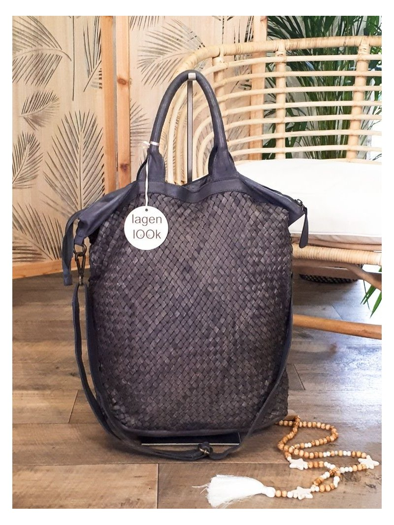 sac dallas cuir tresse gris 4