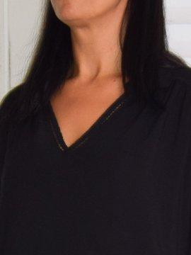 Alex, chemise fluide, Lagenlook noir col