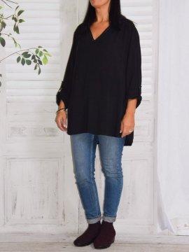 Alex, chemise fluide, Lagenlook noir