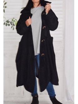 Manteau en laine bouillie, Vilnius, marque Lagenlook - noir