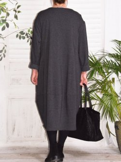 Charline, robe sweat originale - anthracite