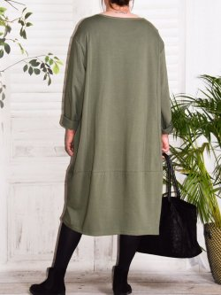 Charline, robe sweat originale - kaki