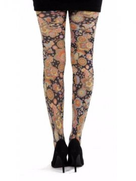 Collants fantaisie, vibrant flowers dos