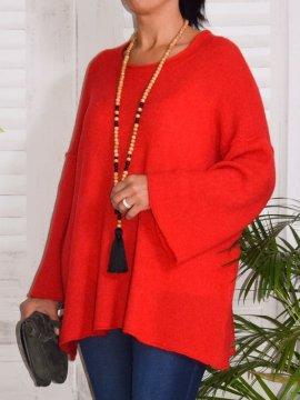 Leslie, pull tunique rouge