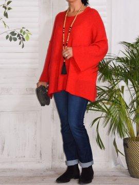 Leslie, pull tunique rouge face