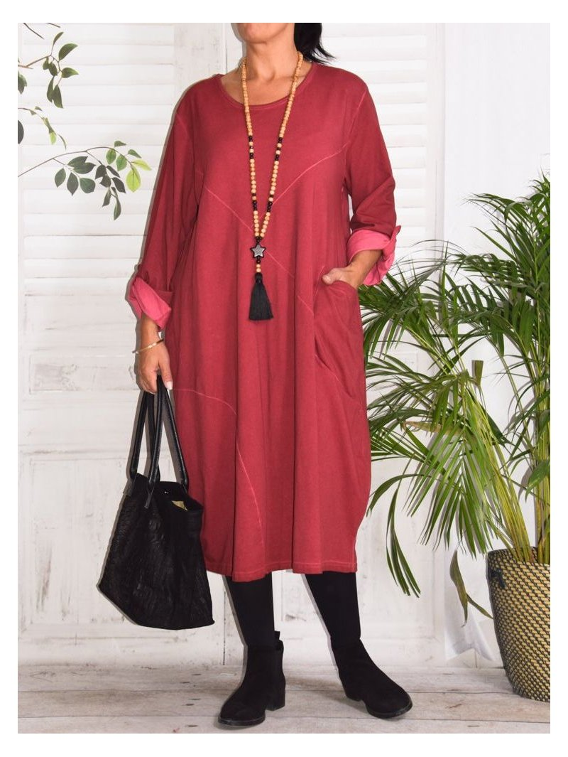 Sandra, robe originale, Lagenlook prune face