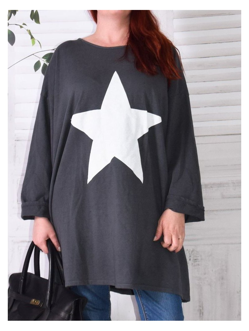 Tunique sweat Star, marque Lagenlook gris zoom