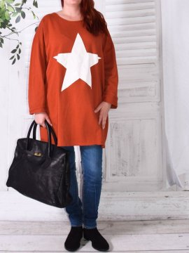 Tunique sweat Star, marque Lagenlook orange avant