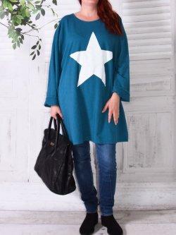 Tunique sweat Star,  marque Lagenlook - bleu canard