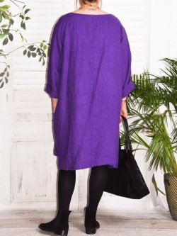 Romane,  robe lin Lagenlook - violet