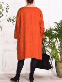 Romane,  robe lin Lagenlook - Brique