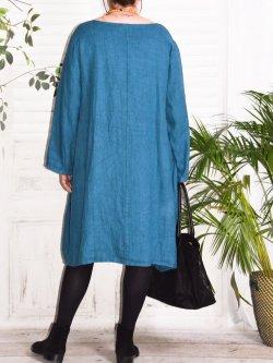 Romane,  robe lin Lagenlook - bleu canard