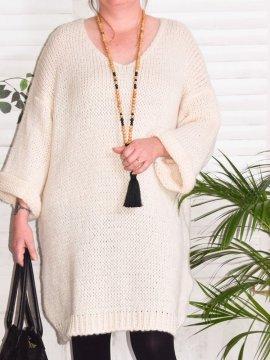 Robe Pull en maille, marque Lagenlook modèle Douceur beige zoom