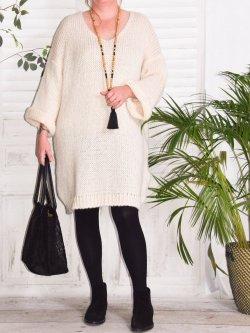 Robe Pull en maille,  marque Lagenlook modèle Douceur - grège