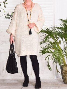 Robe Pull en maille, marque Lagenlook modèle Douceur beige avant