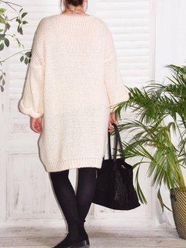 Robe Pull en maille, marque Lagenlook modèle Douceur beige dos