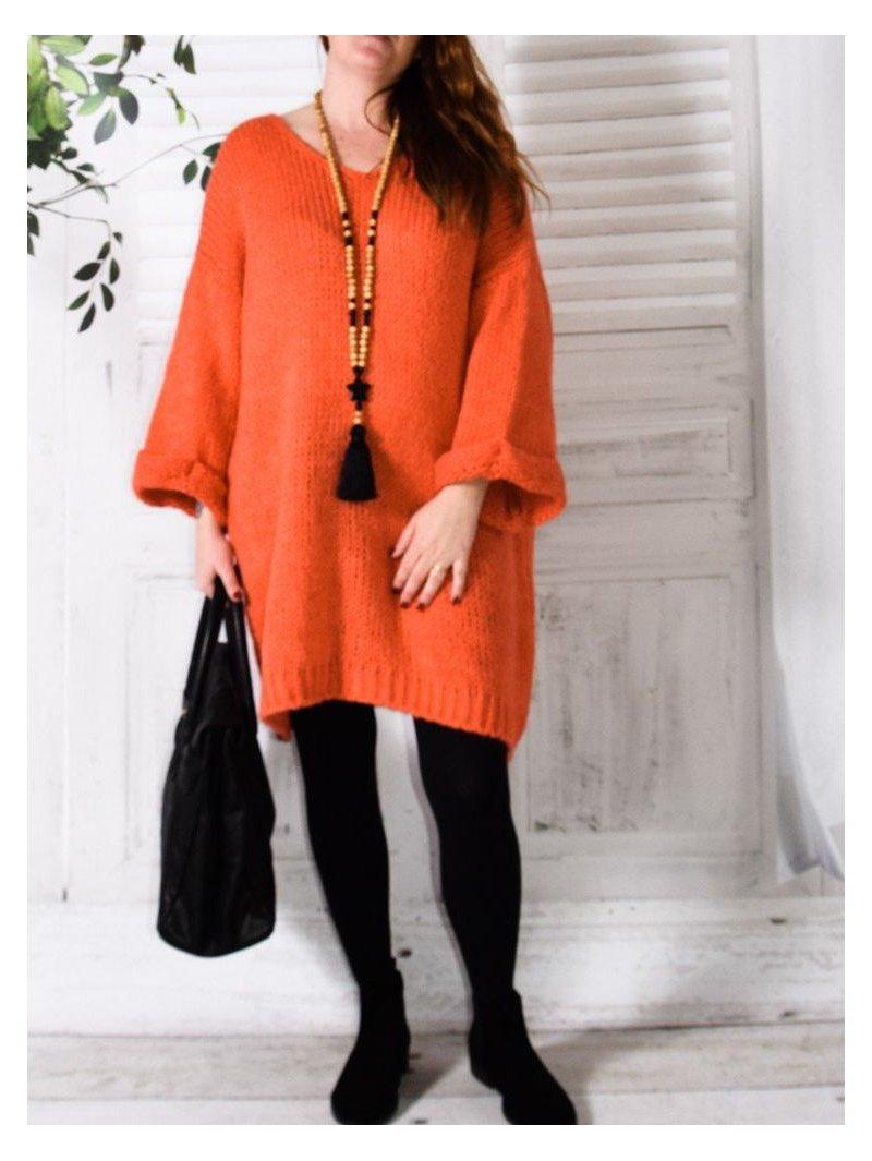 Robe Pull en maille, marque Lagenlook modèle Douceur orange avant